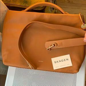 Skagen: large brown ochre leather tote